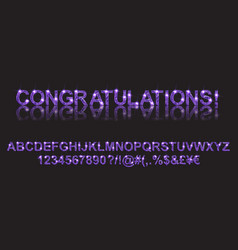 Congratulations gold violet alphabetic fonts vector