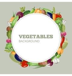 Eco food menu with cartoon vegetables vector