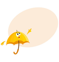 Funny umbrella character with human face surprised vector