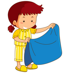 Girl and blue blanket vector