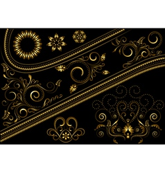 Gold border with pattern and details for design vector