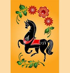 Gorodets horse folk painting vector