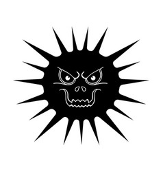 Gray virus icon in black style isolated on white vector