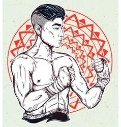 Gritty asian boxer or muay thai martial artist vector