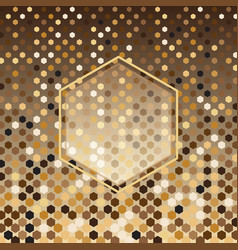 Hexagon gold halftone abstract background vector
