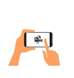 Human hand holds black smartphone with camera vector image vector image