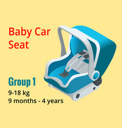 Isometric baby car seat group 1 vector