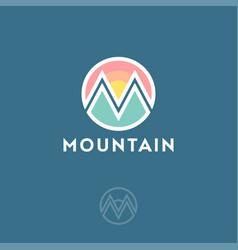 m logo mountain equipment climbing vector image