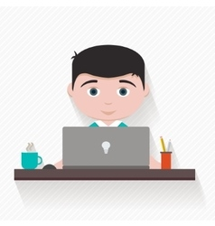 Man with computer vector image vector image