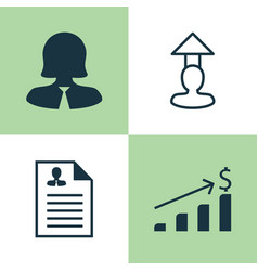 Management icons set collection of businesswoman vector