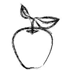 Monochrome blurred silhouette of apple fruit with vector