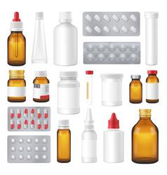 pharmaceutical bottles packs pills realistic set vector image