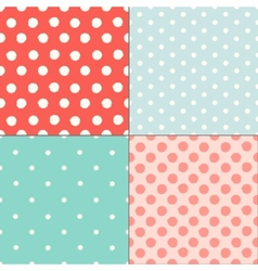Polka dot colorful painted seamless patterns set vector