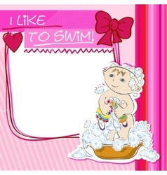 Postcard small child bathes vector image