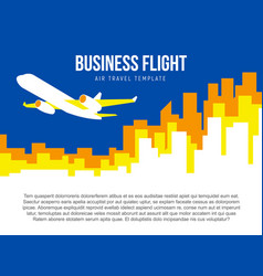 poster template with plane taking off and city vector image