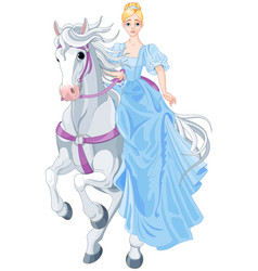 princess is riding a horse vector image vector image