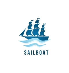 Sailboat logo template vector image vector image