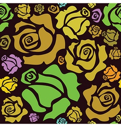 seamless pattern of color roses vector image vector image