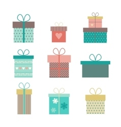 set flat gift icons isolated vector image vector image