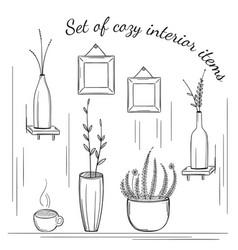 set of cozy interior items vector image vector image