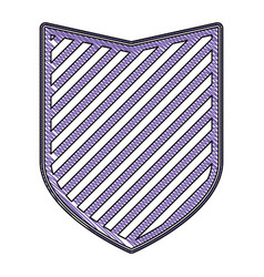 shield in colored crayon silhouette and striped vector image vector image