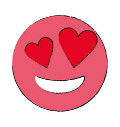 Smiling heart eyes emoji icon image vector