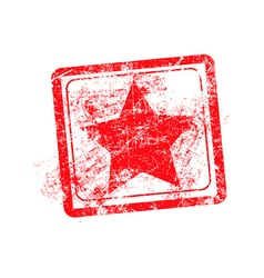 Star red grunge rubber stamp vector