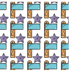 surfboard and starfish background icon vector image