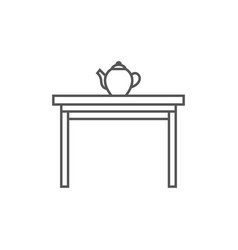 teapot on table isolated icon in linear style vector image