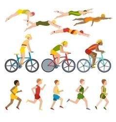 Triathlon athletes design stylized symbolizing vector