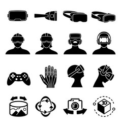 Virtual reality and headset glasses icons vector
