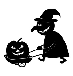 Witch with pumpkin silhouette vector