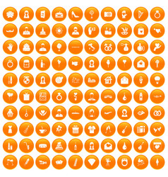100 wedding icons set orange vector