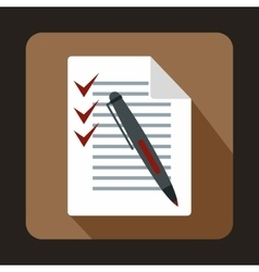 Document with plan and pen icon flat style vector