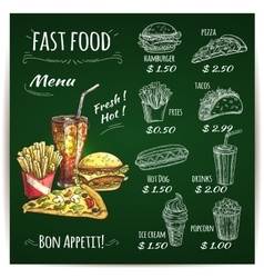 Fast food menu chalk sketch on blackboard vector