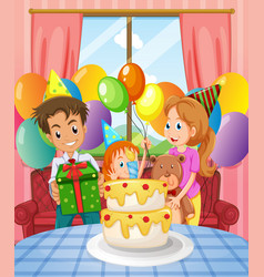 Birthday party with family and cake vector