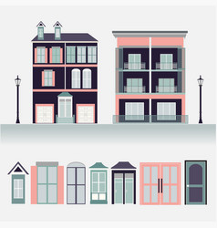 House exterior set icons vector