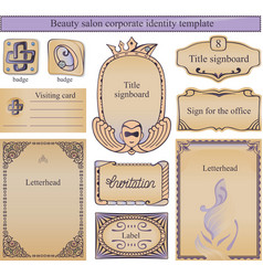 Beauty corporate identity with text vector