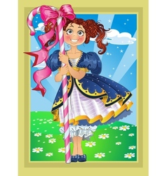 Small girl with candy on fairytale landscape vector