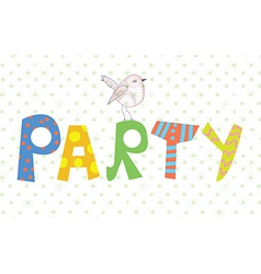 Funny party banner with texture and bird vector