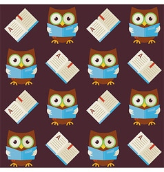 Flat seamless pattern wisdom owl reading book vector