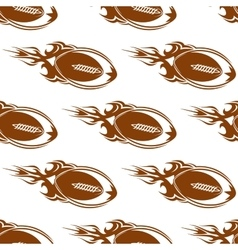 Rugby balls with fire flames pattern vector image