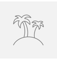 Two palm trees on island line icon vector
