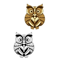 Rounded owl bird with brown plumage vector