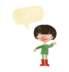 Cartoon boy in poor clothing giving thumbs up vector