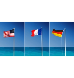 Flags on sea background vector