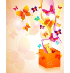 Gift box with butterflies vector