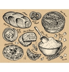 Vintage hand drawn sketch bakery bread and pastry vector