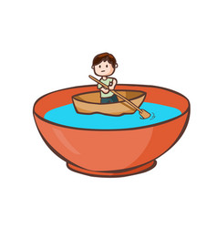 A man paddle boat in the bowl vector