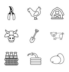 Agriculture stuff icons set outline style vector